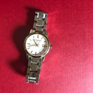 Two tone Burberry watch